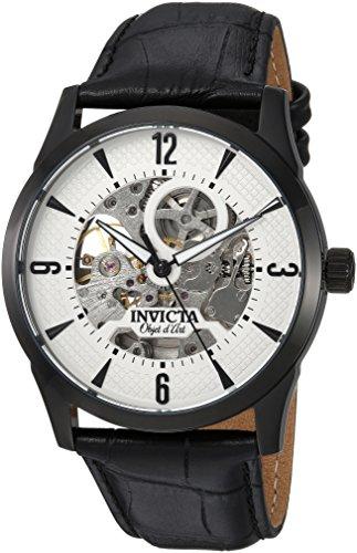 Invicta Relógio masculino Objet d'Art de aço inoxidável automático, com pulseira de couro de bezerro, preto, 23 (modelo: 22639)