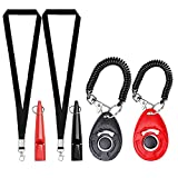4PCS Dog Clicker And Whistle Set ,Dog Training Whistles Puppy Training Clickers Pet