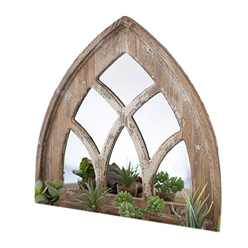 MY SWANKY HOME Rustic Distressed Brown Short 24 Inch Gothic Arch Window Mirror Wood Frame