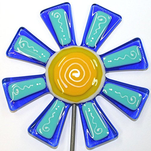 Glassworks Northwest - Brilliant Blue and Turquoise Flower Stake - Fused Glass Garden Art