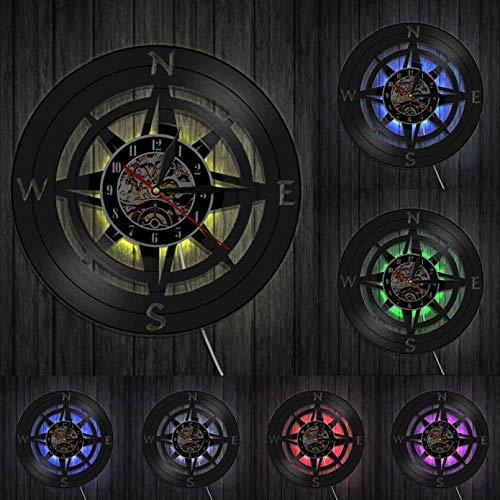 Brújula Colgante de Pared Arte diseño Moderno Reloj de Pared Azul Marino decoración para el hogar Disco de Vinilo Reloj de Pared Reloj de brújula náutica Reloj de Bolsillo-con LED