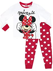 Girls Disney Minnie Mouse pyjamas. Gorgeous red & white polka dot pyjama set featuring the iconic Minnie Mouse holding her polka dot bow! Add some Disney charm to bedtime with these Minnie-liscious pjs! The full length bottoms have an elasticated wai...