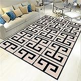 Alfombra Dormitorio Negro Alfombra de salón Alfombra de salón geométrica Retro Negra Antideslizante Alfombra antiacaros 50X80CM alfombras niño 1ft 7.7''X2ft 7.5''