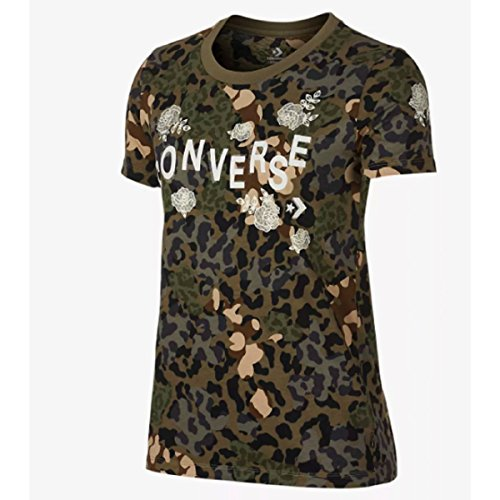 Converse Floral Tier Camo CrewT Dusky Grn Multi–Shirt, Damen, Grün (Dusky Green Multi)
