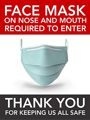 Gerard Aflague Collection 18' x 24' Face Mask Required Covid-19 Poster Sign for Office, Business, or, School - English Version, Large Format - Semi-Gloss Coating, 6 Ounces