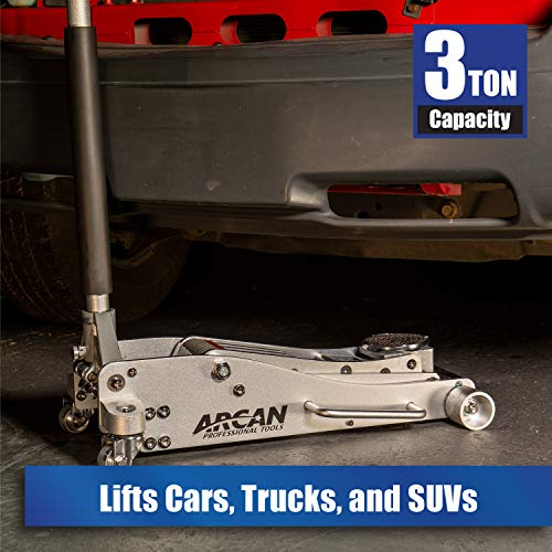 Arcan 3-Ton Quick Rise Aluminum Floor Jack with Dual Pump Pistons & Reinforced Lifting Arm (ALJ3T)