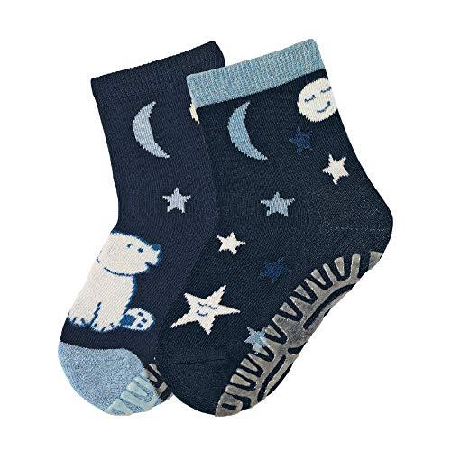 Sterntaler Fli Fli AIR DP Eisbär/Sterne, Baby - Jungen Socken, 2er Pack, Blau (Bleu Marine), 17 - 18 EU