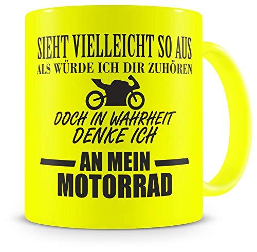 Samunshi® Tasse mit Spruch Ich denke an mein Motorrad Geschenk für Männer Kaffeebecher Kaffeepott neon gelb