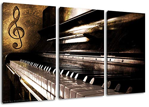Dark Piano Notes Close Piano Dreiteiliges Gemälde Auf Leinwand Poster Frameless Home Decoration
