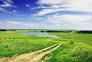 Laeacco Grassy Field Landscape Backdrop 7x5ft Vinyl Photography Background Rural Landscape Cloud Blue Sky Green Meadow Lake River Natural Scenery