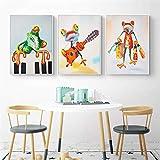 3 Pintura artística de arte de pared Tamaño completo/marco/patrón fresco/Dibujos animados rana animal guitarra Impresión de arte 3 unids/set lienzo póster pintura arte de pared moderno para dec