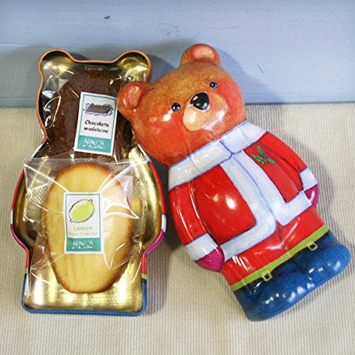 ティンベア(和歌山産柑橘フルーツと米粉チョコレートの2種類マドレーヌ入ったくまさん缶ケース・焼き菓子クリスマスプチギフト)