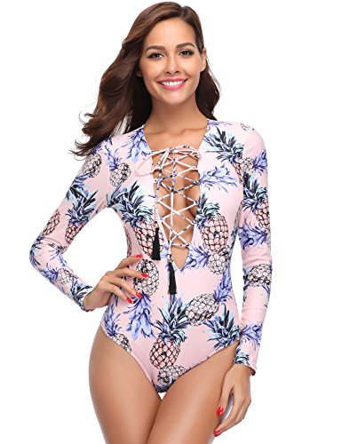 MARINAVIDA Women One Piece Long Sleeve Swimsuit Deep V Neck Bathing Suit