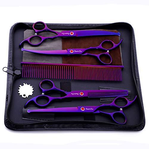Schaar SetSafety Ronde Hoofd 7.0 Inch Paarse Plating 4 Pack Huisdier Verzorging Schaar Rechte Knip Bend Shear Set Stuur Rij Kam