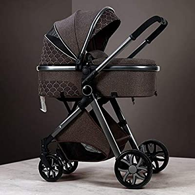 Conocido 3 en 1 Cochecito de bebé de cuero real marco de aluminio alto paisaje plegable Kinderwagen Cochecito con regalos Baby Carriage chocolate