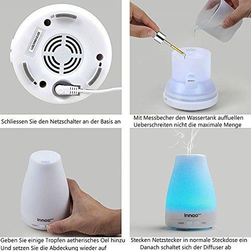 InnooTech Aroma Diffuser 100ml Diffusor Ultraschall Luftbefeuchter Kalten Nebel Technologie Abschaltautomatik Raumbefeuchter mit 7 LED Farbwechsel für Babies Yoga Kinderzimmer Schlafzimmer Büro usw. - 5