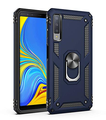JMstore Funda Compatible con Samsung Galaxy A7 2018/A750 Anillo Soporte[Funciona con El Montaje Coche Magnético]+Protectores Pantalla(Azul)