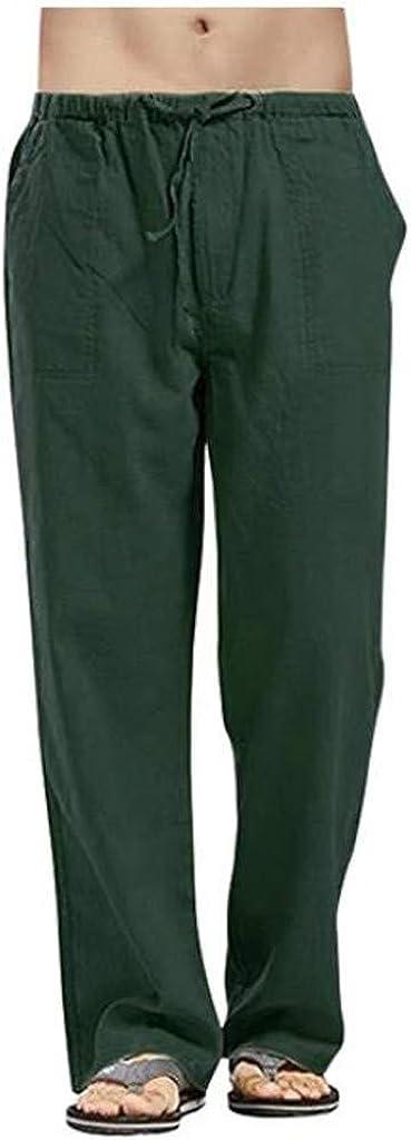 WUAI-Men Casual Linen Pants Stretched Drawstring Elastic Waist Summer Loose Fit Beach Yoga Pants Big and Tall S-5XL