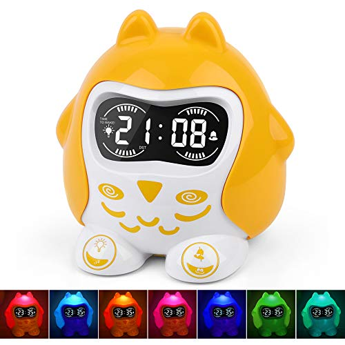 Kids Sleep Training Alarm Clock, White Noise Sound Machine with 9 Sounds&Lullaby, Night Light,Dimmer,Nap Timer, Plug in/Battery Powered Time to Wake Digital Alarm Clock for Toddlers Baby Boys Girls