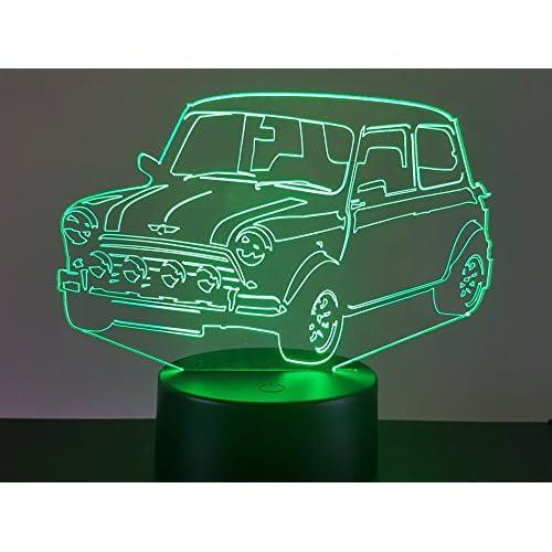 Austin Mini Cooper, Lampada illusione 3D con LED - 7 colori.