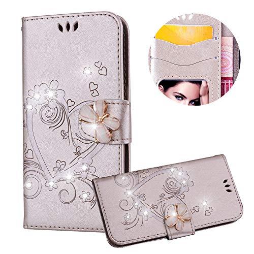 Gold Brieftasche für iPhone SE,Strass Handyhülle für iPhone 5S,Moiky Luxus Liebe Herze Muster 3D Schmetterling Dekor Magnetisch Kunstleder Stoßdämpfende Handytasche mit TPU