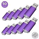 Flash Drive 32GB 10 Pack, RAOYI USB 2.0 Flash Drive Memory Stick Thumb Drives Bulk Jump Drive 32G Pen Drive Zip Drive, Purple