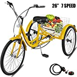 Happybuy Adult Tricycle 7 Speed Wheel Size Cruise Bike 26in Adjustable Trike