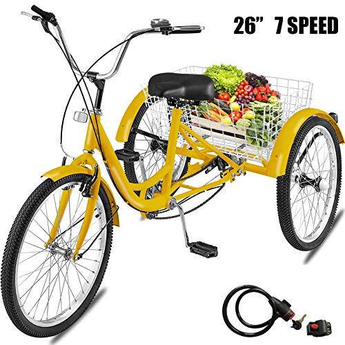 Happybuy 20/24/26 inch Adult Tricycle 1/7 Speed 3 Wheel Bike Adult Tricycle Trike Cruise Bike Large Size Basket for Recreation Shopping (Yellow, 26 Inch / 7 Speed)