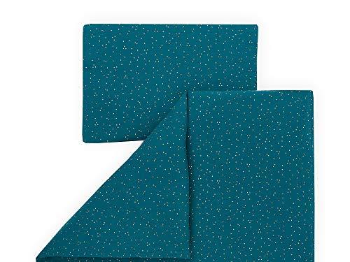 KraftKids Bettwäsche-Set Musselin goldene Punkte auf Petrol aus Kopfkissen 40 x 60 cm und Bettdecke 135 x 100 cm, Bettbezug aus Baumwolle, handgearbeitete Bettwäsche gefertigt in der EU