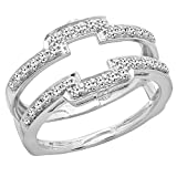 Dazzlingrock Collection 0.50 Carat (ctw) Round White Diamond Ladies Anniversary Wedding Enhancer Guard Double Band 1/2 CT, 14K White Gold, Size 6.5