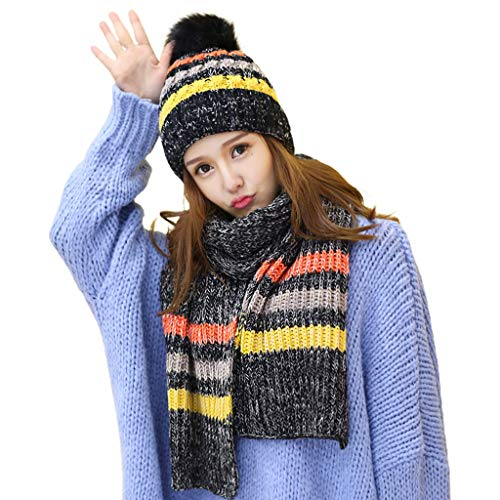 VVXXMO Conjunto de 2 piezas de gorro de ganchillo para mujer de invierno, bufanda larga, chal envolvente de color a rayas gruesas de felpa forradas con pompones calaveras y gorras de cuello