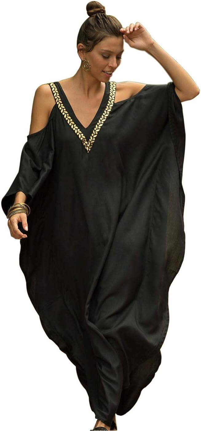 GRACIN Plus Size Kaftan Dress, African Caftan Beach Cover Up, Bohemian Nightdress for Women