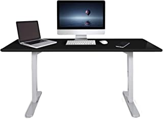 Fortia 160cm Wide Motorised Height Adjustable Ergonomic Standing Desk for Office or Home, Black with White Frame