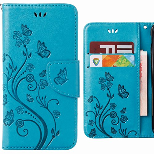 Ougger Handyhülle für ASUS Zenfone 3 Max/ZC520TL Hülle Tasche, Blume Schmetterling BriefHülle Tasche Schale Schutzhülle Leder Weich Magnetisch Silikon Cover mit Kartenslot (Blau)