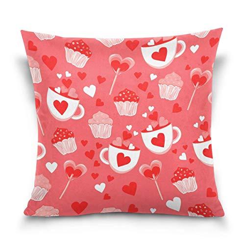 Hancal Kissenbezug dekorative Kissen quadratischen Kissenbezug, Happy Valentinstag Cupcake Lollipop Candy Schlafsofa Kissenbezug Twin Sides
