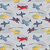 Schickliesel Jersey Stoff Meterware Flugzeuge (hellgrau)