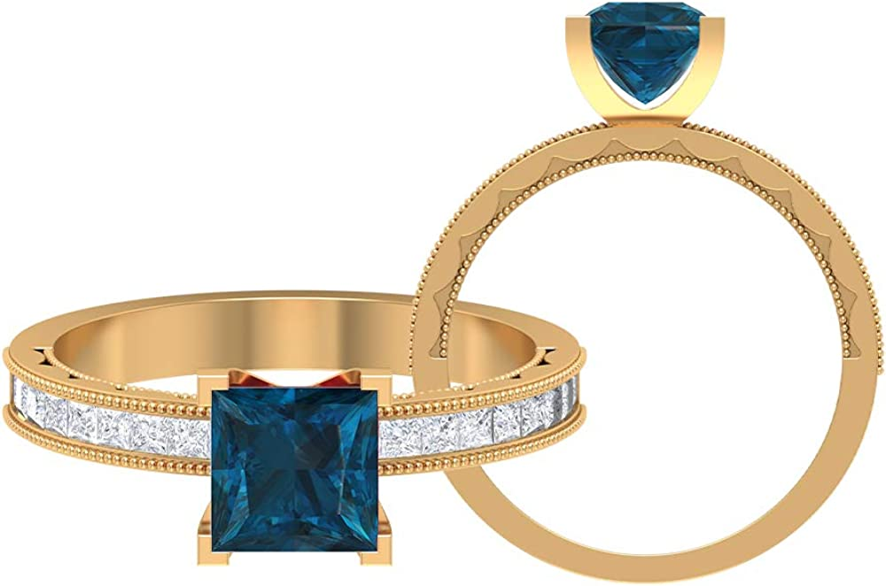 1 CT Solitaire London New Orleans Mall Blue Topaz Gifts Ring MM HI-SI 1.5X1.5 Princess