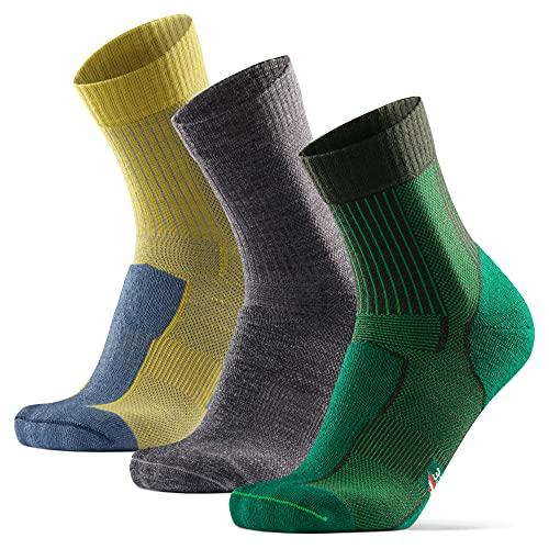 DANISH ENDURANCE Calcetines Ligeros de Senderismo y Trekking de Lana Merino 3 pares (Multicolor: 1 x Gris, 1 x Verde, 1 x Amarillo, EU 43-47)