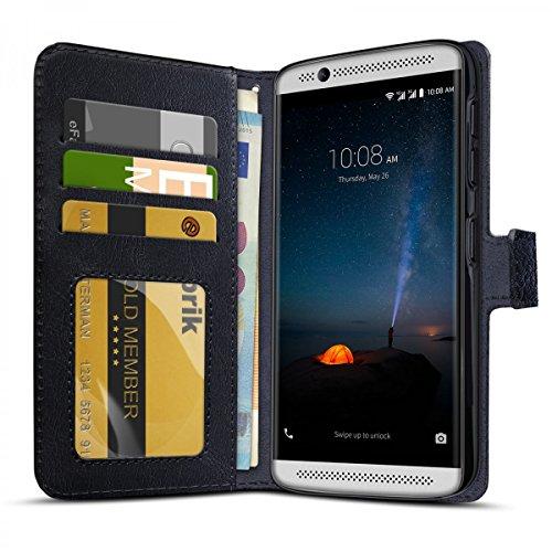 eFabrik Schutztasche für ZTE Axon 7 Mini Hülle schwarz (Nur geeignet für ZTE Axon 7 Mini) Smartphone Hülle Tasche mit Aufsteller & Innenfächer Handy-Zubehör Leder-Optik