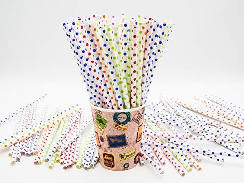 Don Palillo- 250 Pajitas de Papel. Decorado con Topos de Colores.200x6 mm. Biodegradables