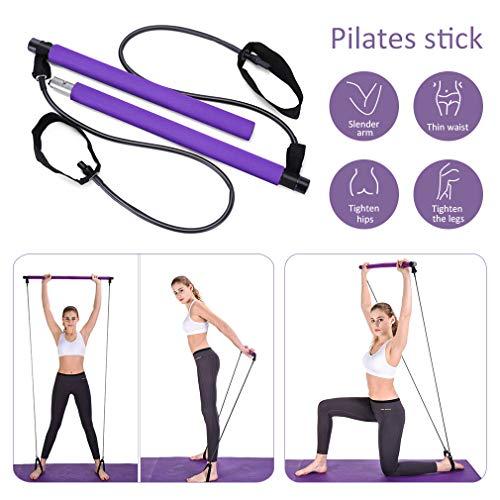 Pahajim Portable Pilates Bar Kit with Resistance Band Yoga Pilates Bar Kit Body Shaping Pilates Stick Hipsline Pilates Bar with Foot Strap