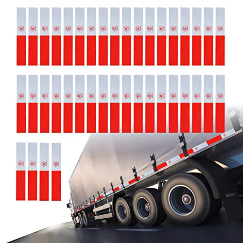 """40PCS Reflective Safety Tape DOT Waterproof Red and White 2"""" × 12"""" Adhesive Conspicuity Tape for Cars, Trucks, Trailers, Boats, Signs"""