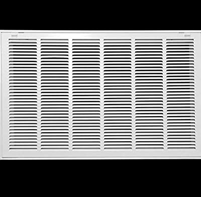 """30"""" X 18 Steel Return Air Filter Grille for 1"""" Filter - Removable Face/Door - HVAC DUCT COVER - Flat Stamped Face - White [Outer Dimensions: 32.5""""w X 20.5""""h]"""