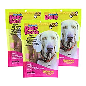 Fido Dental Care Belly Bones for Dogs, Yogurt Flavor – 8 Medium Treats Per Pack, Pack of 3 – Safely Digestible Chew that Promotes Plaque and Tartar Control-Helps to Support Your Dog's Digestive Health