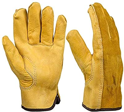 Leather Gardening Gloves, 2 Pairs Heavy Duty Thornproof Garden Gloves Safety Work Gloves Breathable Cowhide Leather Working Gloves for Women and Men