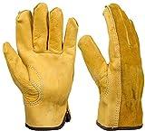 Garden Gloves Thorn Proof 2 Pairs Gardening Gloves Cowhide Leather Working Glove