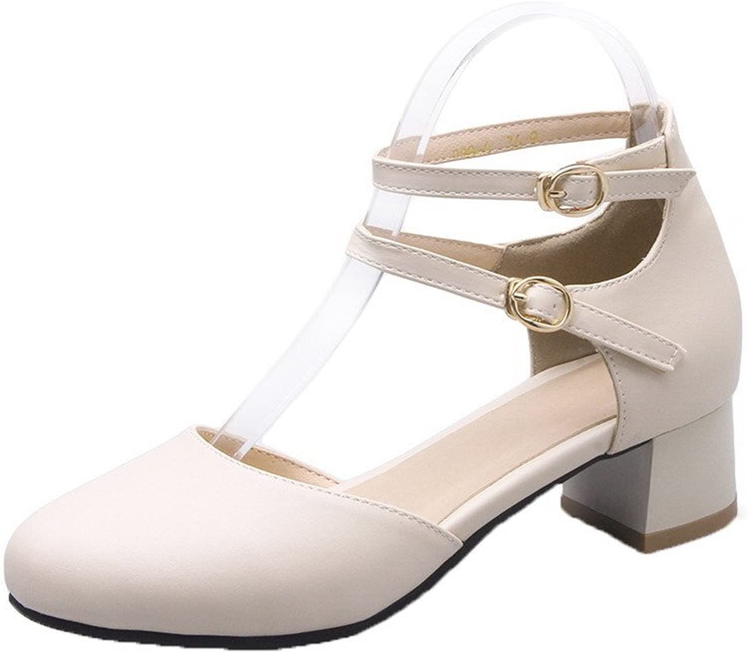 AmoonyFashion Women's Soft Material Buckle Round-Toe Low-Heels Solid Pumps-shoes