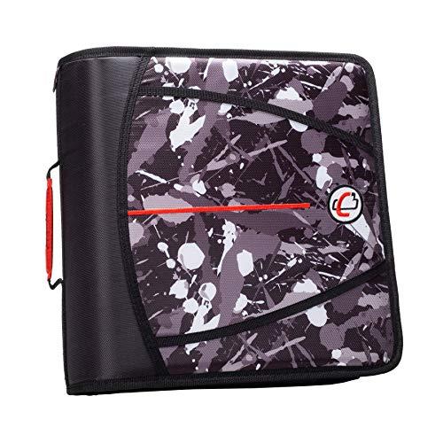 Case-It T641P Zipper Binder, 3-Inch Capacity, with 5-Tab Expanding File, Zip Mesh Pocket, Shoulder Strap, Splatter Black