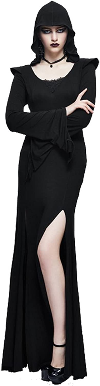 Devil Fashion Punk Witch Maxi Evening Dress Black Long Sleeve Hoodie Dress Side Split Long Prom Dress