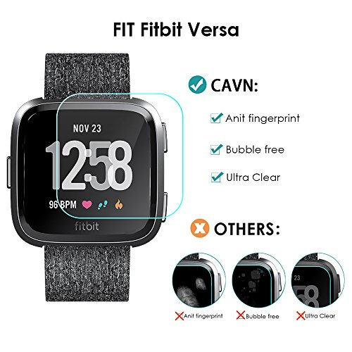 CAVN Compatible with Fitbit Versa & Versa Lite Screen Protector (Not for Versa 2), [3 Pack] Waterproof Shatter-Proof Shield Tempered Glass Screen Protective Cover Saver for Fitbit Versa